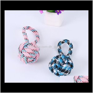Pet Supplies Home & Garden Drop Delivery 2021 Creative Chews For Pets Dog Cotton Knot Toys Durable Braided Ball Shaped Rope Cat Playing Toy S
