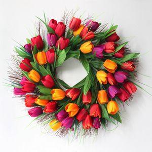 45 см Весна искусственная цветок гирлянды тюльпан дверь линтела молотка свадебные украшения шелковые украшения самостоятельный декор декоративный венок