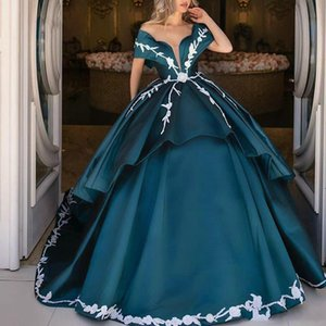 Off the Shoulder Satin Ball Gown Quinceanera Dresses Lace Applique Ruffles Prom Gowns Customise Sweet 15 Masquerade Dress