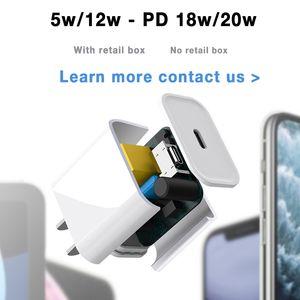 OEM 5W / 12W / 18W / 20W PD Быстрое зарядное устройство USB-C Быстрая зарядка Тип C Домашний адаптер питания для 6 7 8 x 11 12 US / EU Plug с розничной коробкой