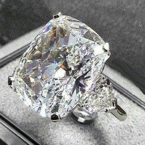 Игристые винтажные ювелирные изделия Пару кольца 925 Стерлингового серебра Большой овальный нарезанный бриллиант свадьба свадьба свадьба свадьба набор подарок