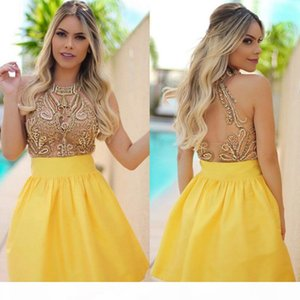 New Yellow Major Beading Sweet 16 Homecoming Dresses Beaded Crystals See Through Back Short Prom Dresses Mini Cocktail Dresses