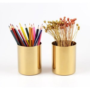 Planters Pots Supplies Patio, Lawn Home & Garden Drop Delivery 2021 400Ml Brass Gold Vase Stainless Steel Cylinder Pen For Desk Organizers St