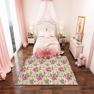Carpets Floral Bedroom Living Room Short Plush Non-washable Non-slip Carpet Staircase Entry Door Outdoor Yoga Children Doormat B