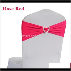 Covers Textiles Home Garden Drop Delivery 2021 50Pcs Lycra Spandex Stretch Sashes Band Heart Shape Buckle Wedding Banquet Party Decoration Ch