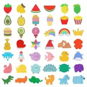 2021 Rainbow Push It Fidget Toy Sensory Push Bubble Fidget Sensory Autism Special Needs Anxiety Stress Reliever for Office Fluorescen US Stock