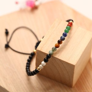 Black agate 7 Chakra Stone Beads Bracelets Beaded Strands fit Unisex Adjustable 4mm Crystal Yoga Bracelet for Women Men