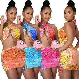 summer womens dresses one piece set sexy halter mini dress casual skirt designer print high quality elegant luxury club wear clothes 9536