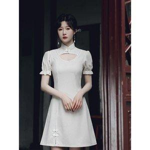 Ethnic Clothing Elegant Retract Waist Qipao Female Sexy Solid Hollow Out Cheongsams Elastic Short Sleeve Classic Chinese Dress Vestidos Impr