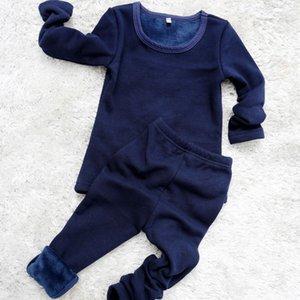 2 pçs / set mirco veludo crianças meninos pijamas roupas underwear térmico menina sleepwear longo johns nightwear tops calça noite roupas pano 724 y2
