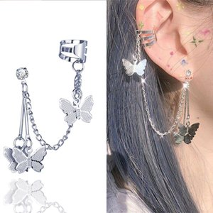 Fashion Butterfly Clip Earrings Ear hook Stainless Steel Ear Clips Double pierced Earring Earrings Women Girls Jewelry