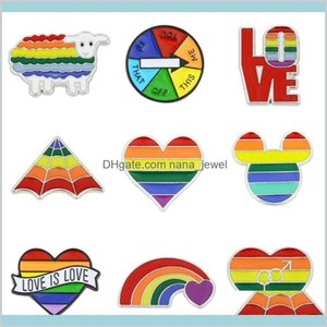Pins Brooches Jewelry Rainbow Lgbt Brooch Cartoon Heart Flag Sheep Mouse Enamel Lesbians Gays Pride Badge Lover Clothes Lapel Pin Gift