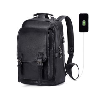 Custom Retro PU Leather USB Laptop Backpack, Casual Notebook Backpack Bag for Men