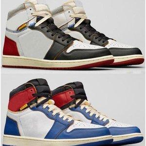 Kalite UN lax 1 Yüksek OG Siyah Ayak Mavi Kırmızı Basketbol Ayakkabıları Erkek Kadın 1s Sneakers ile Kutusu