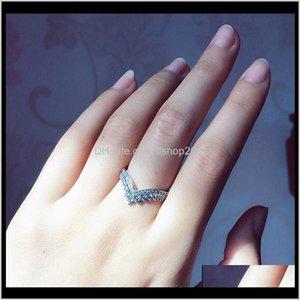Jewelryoriginal Box For Pandora 925 Sterling Sier Princess Wishbone Rings Set Diamond Women Wedding Gift Ring Ps0882 Drop Delivery 2021 Rofol