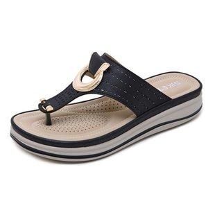2021 Big size Women slippers Elegant women flip flops Euro USA breathable metal decorate slipper for lady zy217