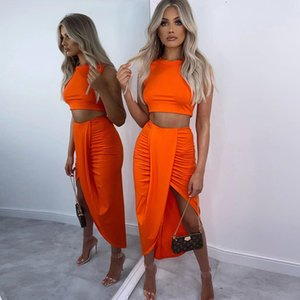 Sexy Two Piece Set Women Summer Crop Top Split Midi Skirts 2 Piece Set Party Cub Wear Lavender Two Piece Outfits