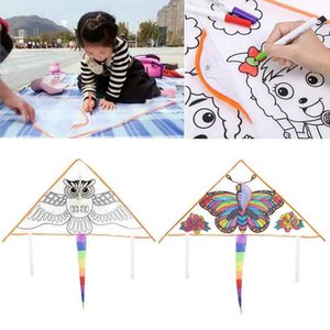 Flying Kites Diy Graffiti Color Filled Toy Kite And With Line Handle Outdoor Sports Educational Triangle Blank M5L8