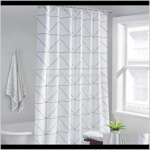 Fashion White Grid Print Blinds For Bathroom Variety Size Polyester Bath Curtain Waterproof Shower Curtains Home Decor 210402 Ljmd W6Iqz