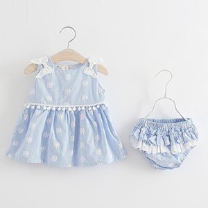 Born Baby Girls Clothes Sleeveless Dress+Briefs 2PCS Outfits Set Floral Plaid Printed Clothing Sets Summer Sunsuit 0-24M