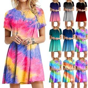 Beach New Summer Mini Tie-Dye Print Casual Jurk Gradient Rainbow Colorful O neck Short Mouwen Loose dress Plus size 5XL dresses