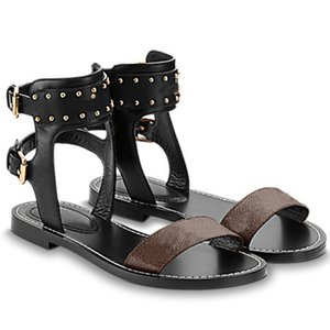 Classic Womens Summer Slippers Sandalia sorprendente Gladiador Suela de cuero Cadena plana Slipper Slides Slides Llany Sandals Shoes