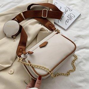Fashion Chains Women Shoulder Designer Wide Strap Crossbody Bags Luxury Pu Leather Women's Lady Small Purse 3 Bag Set Q1206