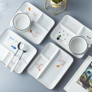 Cena de cerámica Conjunto Placas y platos Bandeja de tres rejillas, Placa de desayuno para niños Comedor