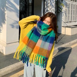 Autumn and Winter New Color Thick Braided Scarf Wind Ring Yarn Plaid Four Women's Warm Neck