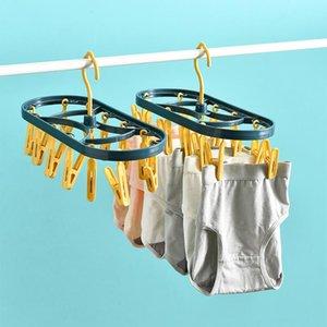 Foldable Hanger Adult PP Plastic Windproof Clothes Children Baby Socks Rack Hanging Household Drying Shelf Hangers & Racks