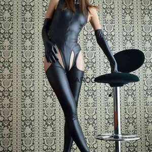 SAROOSY Sexy Bodysuit Women Leather Latex Catsuit Faux PU Open Crotch Erotic Lingerie Long Gloves Set Night Club Sexy Costumes L0407