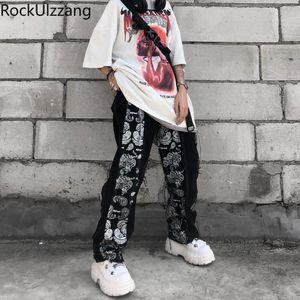 Japanese Men Streetwear Korean Woman Tracksuit Fashion Patchwork Bandana Denim Loose Straight Pant Jeans Hip Hop Ripped Slim Men's Pants