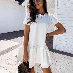 Dresses Loose Casual Short Sleeve Mini Women Summer O-neck White Black Ruffles Big Hem Beach Es for Woman Femme Robe