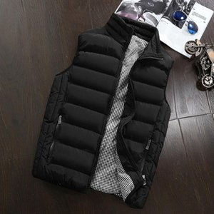 Men's Casual Vest Jacket Thickened Sleeveless Cotton Padded Warm Anti - static Breathable Coat for Autumn Winter red blue black