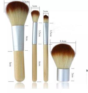 4 stücke Set Kit Andere Haushaltsunternehmen Holz Makeup Pinsel Schöne professionelle Bambus auswändigen Make-Up-Bürsten-Werkzeuge mit Fall DHE5810