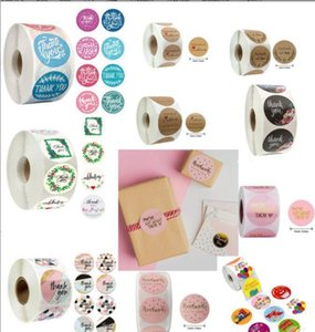 Stickers Pink Colors 500Pcsroll 10 Styles Flowers Heart Thank You Adhesive Sticker Scrapbooking Handmade Business Packaging Seal Decor B6Xql