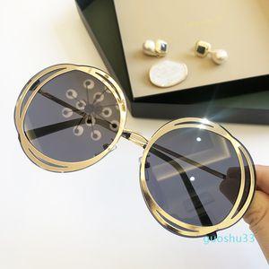 2021 Новый металлический цветок круглые солнцезащитные очки женские крупные рамки европейские моды личности очки тонкие торцевые солнцезащитные очки