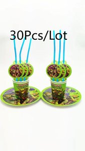 Packaging Dinner Service 31Pcs Disposable Tablewares Set Cartoon Cups Plates Straws For 10Kids Baby Shower Birthday Party Decorations Home
