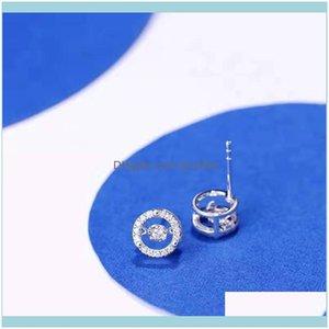 سحر jewelrysterling Sier الكورية النسائية الذكية S925 السويسري قيراط الماس أقراط بسيطة مزاجه مجوهرات إسقاط التسليم 2021 0fobj