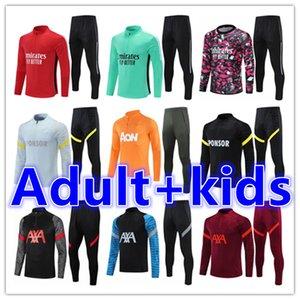 Crianças + Homens Adultos 20 21 Futebol Treinamento Tracksuit Futebol Tracksuits Conjuntos de Terno 2021 2022 Chandal Jacket Jogging Kit