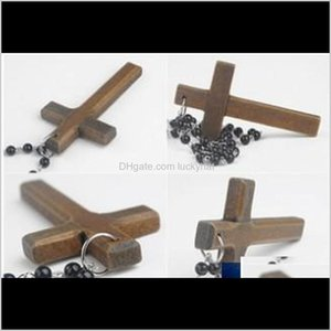 Beaded Necklaces Promotion Fashion Wood Long Black Beads Sweater Chain Necklace Wooden Made Cross Pendant 8Inw6 Dchg5
