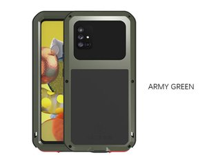 Étuis téléphonique imperméable pour Samsung Galaxy A71 A51 S21 S21ULTRA NOTE20 5G Résistant à la saleté Résistant à la saleté Résistant à l'eau Coque de l'armure métallique