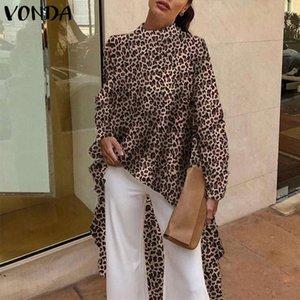 VONDA 2019 Casual Women Blouses Sevy Long Sleeve Vintage Leopard Print Blouse Office Shirt Loose Asymmetrical Long Top Plus Size A3t1#