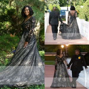 2022 Vintage Black Lace Wedding Dress Princess Empire Waist Lace V-neck Sheer Long Sleeves Sexy V Open Back African Women Party Dresses For Bride