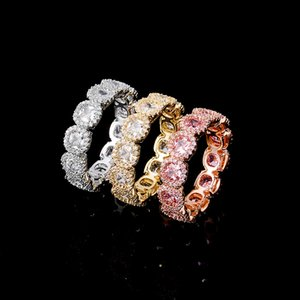 27MM Cubic Zircon Diamond Ring Gold Color High Quality Copper Iced Out Rings Hip Hop Fashion Jewelry Gift For Men Women