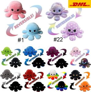 28 Styles Reversible Flip Octopus Stuffed Doll Soft Double-sided Expression Plush Toy Baby Kids Gift Doll New Year Festival Party Supplies
