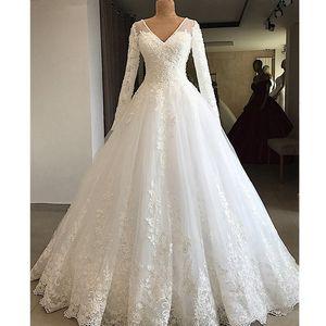 Long Sleeve Vintage Lace Vestido De Novia V neck Wedding Dresses with Beads A Line Bridal Gowns Custom made