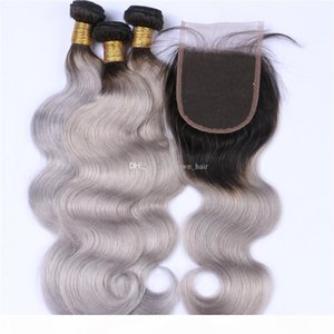 Brazilian Virgin Body Wave Hair Weaves WithTop Closure Dark Roots 1b Grey Human Hair 3 Bundles With Lace Closure