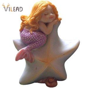 VILEAD Cute Sleeping Mermaid Figurines for Aquarium Miniature Fairy Garden Cake Decorations Resin Room Decor Accessories Shells 210607