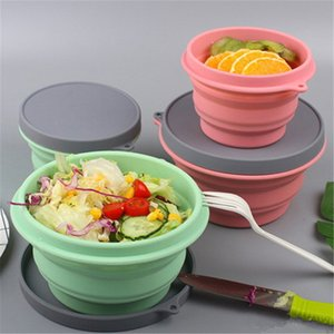 Silicone Collapsible Bowl With Lid 500ml 17oz 1L 32oz Camping Travel Silica Gel Folding Dish Kids Plate Food Container BPA-free Dishwasher Enabled Portable